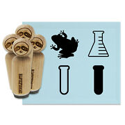 School Science Class Beaker Test Tube Frog Rubber Stamp Set Stamping Crafting