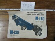 Vintage Ford M130 And M170 Manure Spreader Literature Used/acceptable