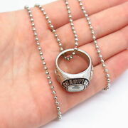 Vintage Chain Necklace With Champion Junior Liberty Ring Pendant In Silver Tone