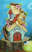 Ceramic Bisque Ready To Paint Lighted Mandavilla Fairy House With Log Slice Base