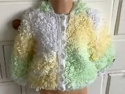 Sale Discontinued Loopy Multi Lemon Green Girls Hooded Cardigan Hand-knitted