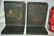 Antique Us Bradley Hubbard Victorian Cast Iron Home Rug Lamp Chair Book Bookends