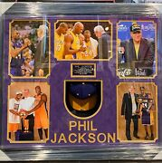 Phil Jackson Autographed Personally Worn Lakers Hat Custom Framed Shadowbox