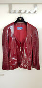 Thierry Mugler Couture 1990and039s Red Lamb Skin Leather Wasp Waist Zip Up Jacket