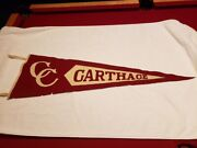 Very Rare Carthage College 1910 Wool Sewn On Letters Pennant, Vintageandnice