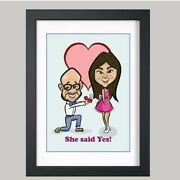 2 Person Digital Engagement Caricature From Photo - Personalised - Digital File