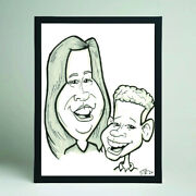 2 Person Caricature From Photo B/w A3 - Hand Drawn Cartoon - Personalised