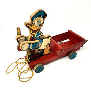 Fisher Price Donald Duck Pull-toy/noise Maker Vintage 1950and039s