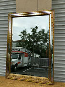 Vintage Mid Century Gold Gilt Faux Bamboo Rectangle Wall Mirror