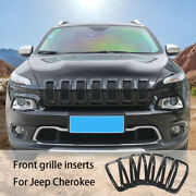 7pcs Black Car Front Grille Inserts Grill Frame Trim For 2014-2018 Jeep Cherokee