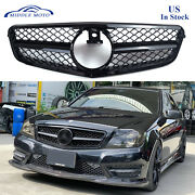 Gloss Black Amg Style Front Grille Grill For Mercedes Benz W204 C250 C350 08-13