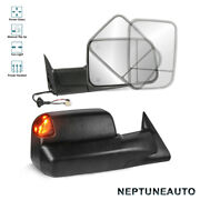 Towing Mirrors Power Heated Led Signal Lights Set For 1998-2002 Dodge Ram Truck