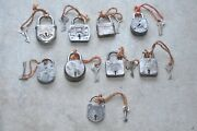 9 Pc Old Iron Different Shape Handcrafted German Padlocks , Germany