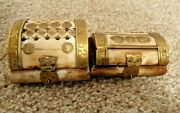 Antique Pair Of Caribou Bone Trinket/jewellery Boxes Velvet Lining And Brass Decal