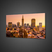 Beautiful Sunset Over San Francisco Mounted Canvas Print Wall Art Picture Photo