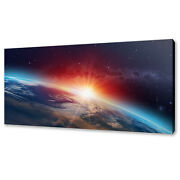 Planet Earth Spectacular Sunset Space Panoramic Canvas Print Wall Art Picture