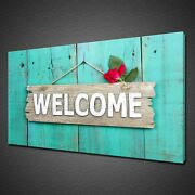 Rustic Welcome Sign Red Rose Flower Mounted Canvas Print Wall Art Picture Photo