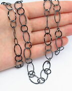 Vintage Chain Hammered Finish Links Necklace In Black Tone