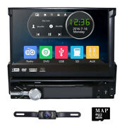 Single 1din 7 Flip Up Car Stereo Dvd Cd Radio Player Gps Touch Screen+map+cam E