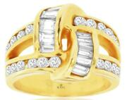 Estate Wide 2.30ct Diamond 14kt Yellow Gold 3d Round And Baguette Love Knot Ring