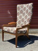 Vintage Adrian Pearsall High Back C-chair Mid Century Walnut Re Upholstered Mod