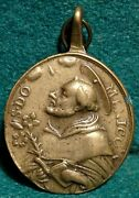 St Dominic / Our Lady Of The Rosary Antiq 18th 28x41mm Brass Medal