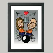 16 X 12 Digital Poster Print - Anniversary Caricature From Photo