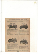 Vintage Gendron Pioneer Roadsters Fire Cars Pedal Ladder Chief Ad Print K254