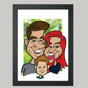 16 X 12 Colour Print - 3 Person Digital Caricature From Photo - Personalised