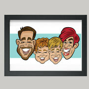 16 X 12 Colour Print - 4 Person Digital Caricature From Photo - Personalised