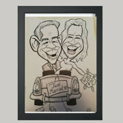 2 Person Wedding Caricature From Photo B/w A3 - Hand Drawn Cartoon. Personalised