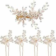 5 Pieces Bridal Rhinestone Hair Pins Wedding Clips Flower Leaves With Artificial