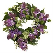 Nearly Natural 4786 Hanel Lilac Wreath 20-inch Purple/pink/green