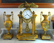 Antique Marble Bronze Eagle Clock And Urns - Gift From Thomas Edison