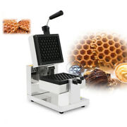110v Electric Honeycomb Rotary Waffle Maker Iron Oven Nonstick Stainless Steel