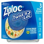 Ziploc Twist And039n Loc Containers 16 Oz. 3 Containers 3 Count Pack Of 1 Blue