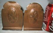 Antique Roycroft Usa Mission Arts And Crafts Hammered Copper Desk Book Bookends Us