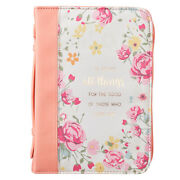 He Works All Things For Good, Bible Cover Peach Floral, Faux Leather Med-lg-xl
