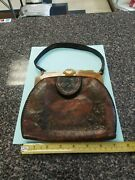 Vintage Brown And Black Leather Purse. Amber Color. Ex. Condition. Iand039d Card In...