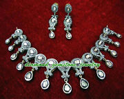 Antique Polki Rose Cut Natural Diamond Antique Look 925 Sterling Silver Necklace