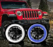 """All Led Headlight Halo Projector Drl 9""""3color For Wrangler Jl 2018-2020 2pcs"""