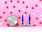Dollhouse Miniature Candlesticks-made With Crystalsandstar Of David 112
