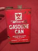 Vintage Western Auto Wizard Gasoline Can Advertising One Gallon Used Collectible