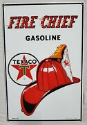 Vtg Texaco Fire Chief Gasoline Porcelain Sign Pump Plate 1986 Ande Rooney B6