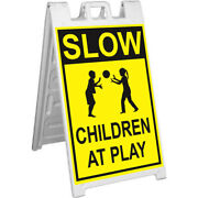 Slow Children At Play Signicade A-frame Sign Sidewalk Pavement Banner Sign Yb