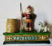 Trick Dog Vtg Bank Cast Iron Circus Clown W/dog And Hoop Mechanical Coin Bank A6