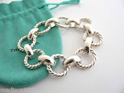And Co Silver Large Cable Rope Link Bracelet Bangle Gift Pouch Statement