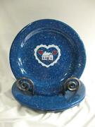 Tres Speckled Blue Graniteware Heart And Home Dinner Plates - 4
