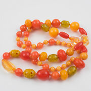 Vintage Bakelite Lucite Long Necklace Sunny Yellow Orange And Glitter Colors