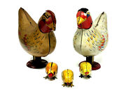 Wyandotte Tin Laying Hens, Set Of Two With Chicks, Vintage